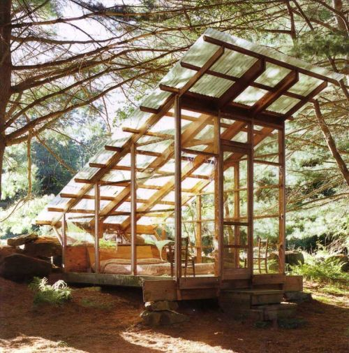 Photo of a stand alone porch in a forest