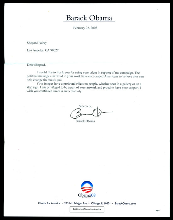 A letter from Barack Obama to Shepard Fairey