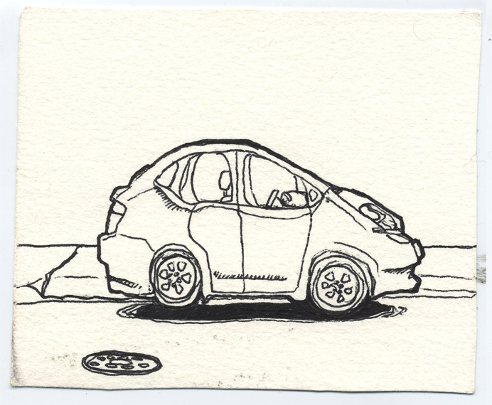 Drawing of a Toyota Prius