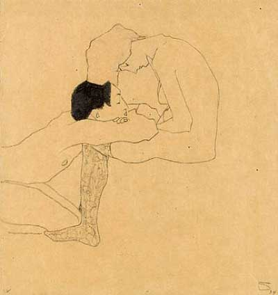 Sketch of two people by artist Egon Schiele